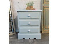 Solid Pine Painted Duck Egg Bedside Drawers