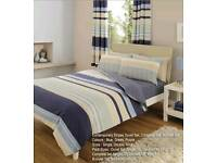 BLUE & CREAM STRIPE BEDDING SET - DOUBLE