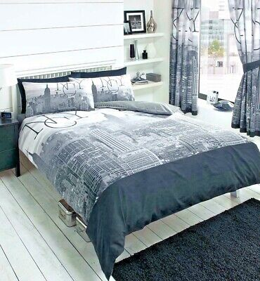NEW YORK CITY SKYLINE BLACK & GREY PRINTED DUVET COVER BED REVERSIBLE QUILT SET