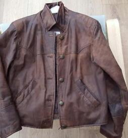 Brown leather jacket women's