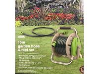 15m garden hose and reel set - brand new in bow