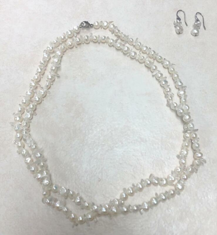Necklace and Earring Set w/ Sterling Silver & Freshwater Pearl & Stones~ 3-A1096