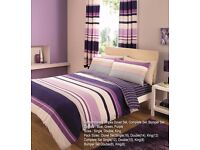 8Pc Duvet Cover Set With Pillow Cases Fitted Sheet Curtain Pairs&Tie Backs DOUBLE 23.50 KING 26.99