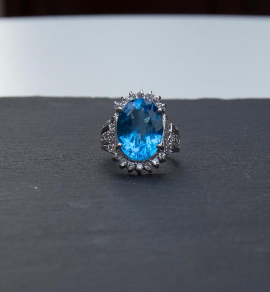Blue topaz ring, ladies ring