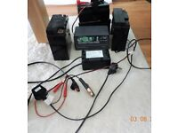 Three golf trolley(Lead-Acid) batteries and two battery chargers