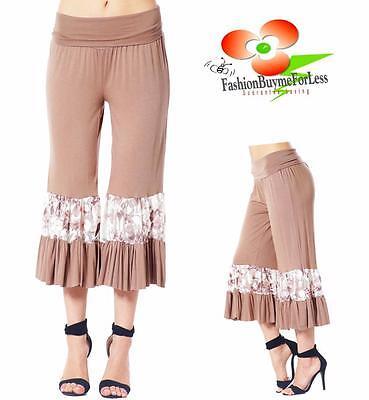 Jersey Yoga Capri Pant (Victorian BROWN Lagenlook Foldover Ruffle Palazzo Jersey Capri Yoga Pants S M L)