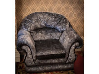 Perfect condition!! Blue-grey Velvety Armchair