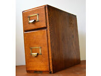 1950s oak two draw cabinet card index holder drawer industrial antique vintage haberdashery library