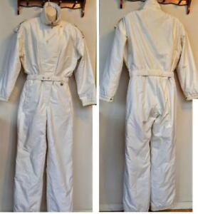 Vintage SKI SUIT One-piece Ladies M 10 Tall White Gold  Oakville Snow Retro 80s  Skisuit Funky Polka-dots Print