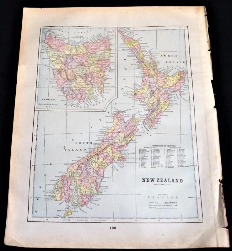 NEW ZEALAND & AUSTRALIA ATLAS MAP PAGE 1894 VINTAGE GEORGE F. CRAM