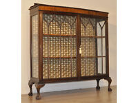 Attractive Large Vintage Carved Mahogany Glazed Door Bow Front Display Cabinet