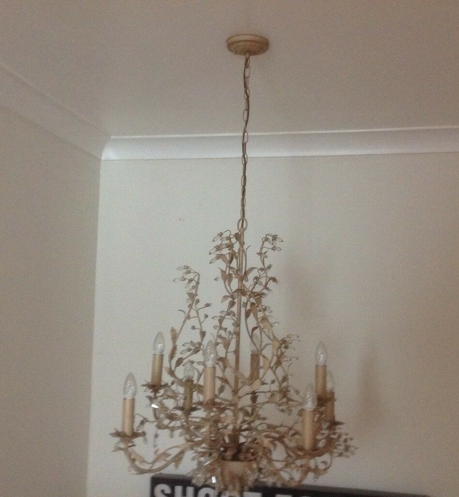 Large beautiful chandelier gold shabby chic ceiling light john large beautiful chandelier gold shabby chic ceiling light john lewis mozeypictures Gallery
