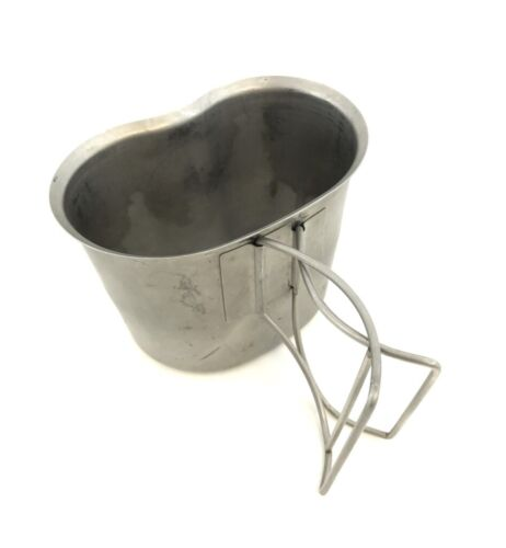 Military Issue Canteen Cup, USGI 1 Quart Stainless Steel Butterfly Wire Handle
