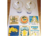 Pair of Vintage Babycham Glasses With Vintage Coasters Palm Britvic Beer Mats