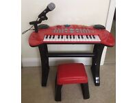 Tess Toys - Chad Valley Children's Red Piano/ Keyboard With Microphone & Stool Excellent Condition