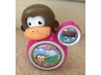 Baby Zoo Kids Momo Monkey Sleep Trainer Clock Pink