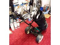 Golf Clubs (Left Handed) With Foldaway Electric Trolley