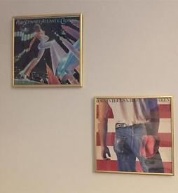 Two glass record vinyl holder display frames gold frame urban outfitters