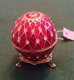 Faberge Style Egg Trinket Box BNWT