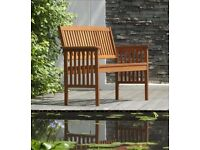 Chichester FSC Eucalyptus Wood Outdoor 2 Seater Bench - Rrp £ 79.99 - Brand New