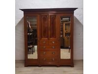 Edwardian Mahogany Inlaid Wardrobe (DELIVERY AVAILABLE FOR THIS ITEM OF FURNITURE)