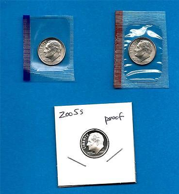 2005 P D AND S SATIN BU AND PROOF ROOSEVELT DIME SET -PD IN MINT SET CELLOS