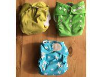 Bundle of 3 re-usable nappies - Wonderoos, Bum Cheeks + Totbots