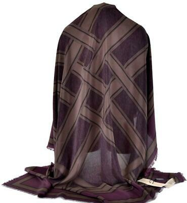 New Burberry $450 Mulberry Silk Autumn Belts Print Plum Scarf DEFECT
