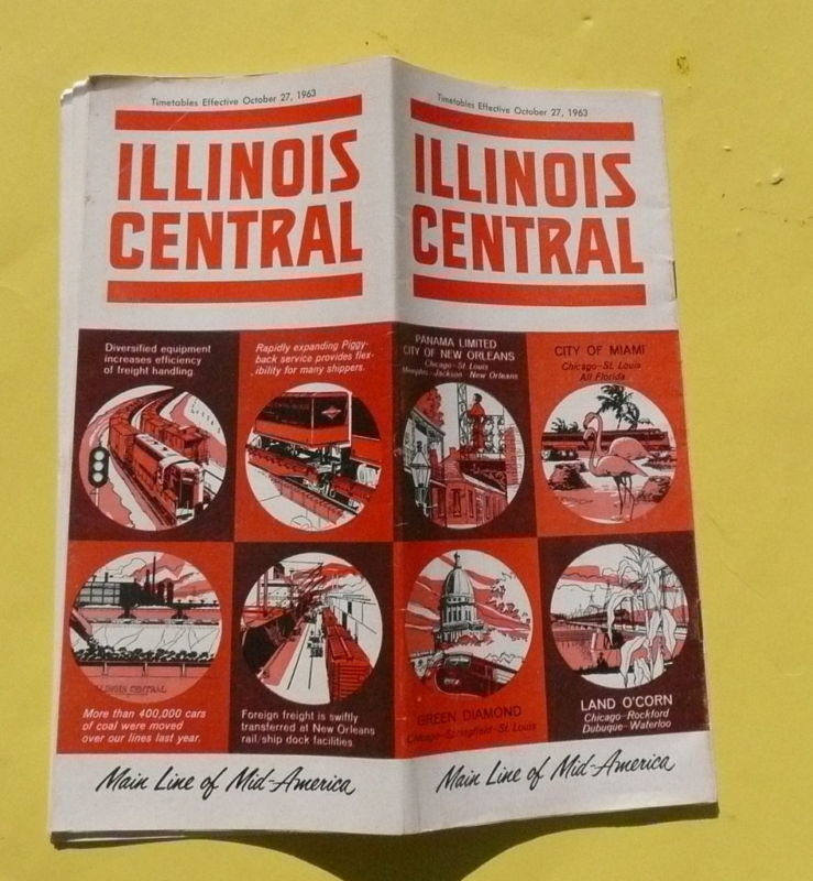 1963 Illinois Central Railroad timetable map