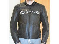 AlpineStars Black Leather Motorbike Jacket