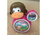 Baby Zoo Kids Momo Monkey Sleep Trainer Clock Pink