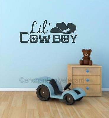 Lil Cowboy Boys Room Decor Vinyl Decal Wall Sticker Lettering Nursery Playroom - Cowboy Room Decor