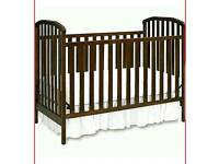 Nursery Cot, Walnut Colour, Very Good Condition.