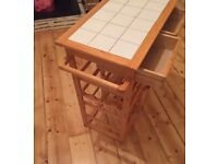 Freestanding pine / white kitchen storage unit - £15