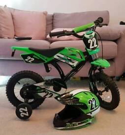 """Motobike kids bike 12"""" wheel and motobike helmet"""
