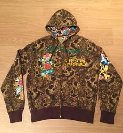 """Brand new vintage Ed Hardy """"Mohican"""" Large dark green and brown hoodie. Screen printed design"""
