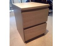 Chest of 2 drawers (white stained oak veneer)