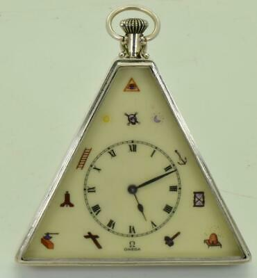 Unique antique Omega silver&painted enamel Masonic pyramid pocket/table watch