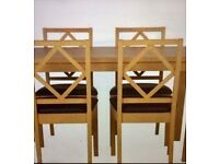 New and Boxed - Oak stained pine table and 4 diamond back chairs