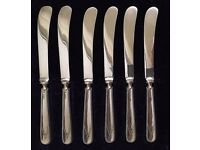 6 EPNS butter knives with silver handles