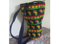 Medium 13 Inch Head Djembe Drum Bag African Rasta Fabric Padded Backpack Style New