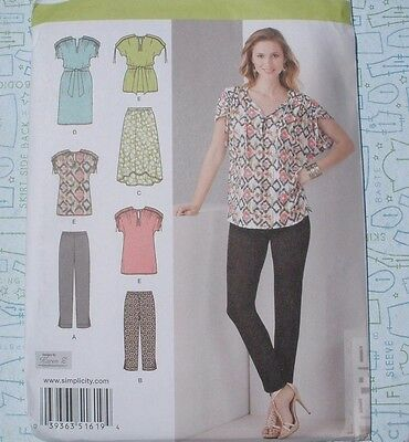SIMPLICITY 1619 Pattern size 8-16 Gathered Sleeve Dress Top Pants Skirt  UC