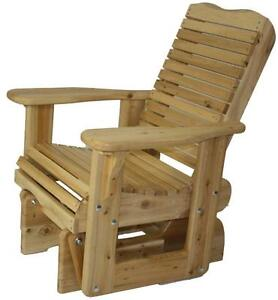 Amish handmade cedar glider rocker gliding chair gliding bench for front porch,cottage,patio,firepit,log house,law, etc.