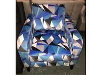 Blue DFS Lustre velvet patterned accent armchair