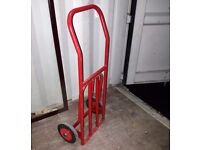 Small heavy duty steel tube sack truck / folding trolley, solid rubber tyres