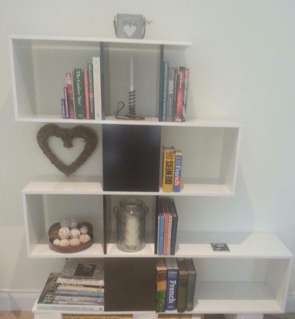 Zig Zag Bookcase Room Divider Black And White Gloss