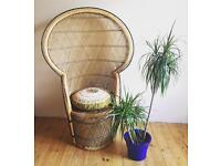 1970's wicker Peacock Throne chair