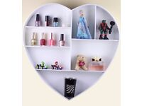7 Compartment Heart Floating Wall Storage Display Shelves