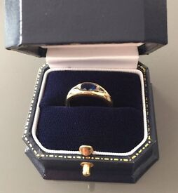 18ct Gold Mounted Sapphire and Diamond 3 Stone Ring with professional valuation