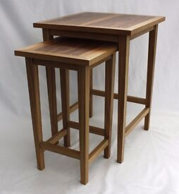 Set of 2 nesting tables - Hand made Oak and Walnut
